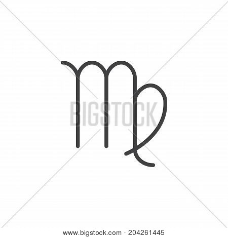 Virgo zodiac sign line icon, outline vector sign, linear style pictogram isolated on white. Astrology symbol, logo illustration. Editable stroke.