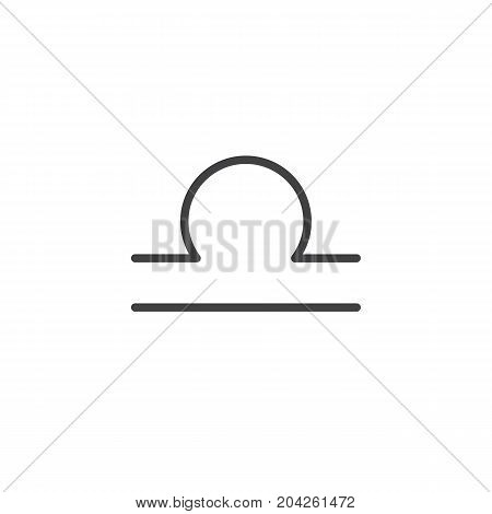 Libra zodiac sign line icon, outline vector sign, linear style pictogram isolated on white. Astrology symbol, logo illustration. Editable stroke.