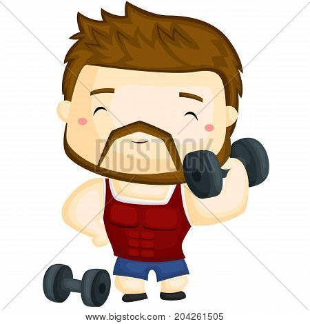 a happy fitness instructor lifting weight happily