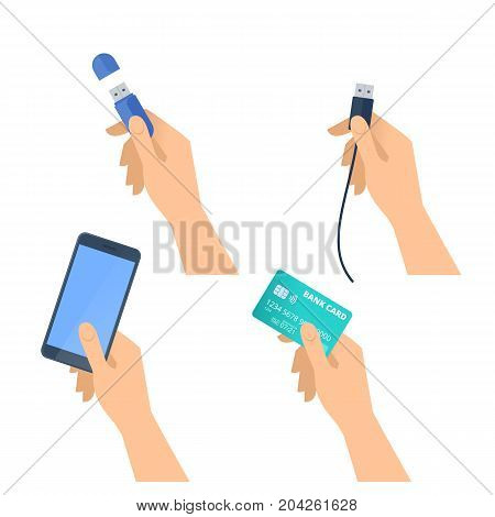 Human hands hold flash drive, mobile phone, usb plug, plastic bank credit card. Flat illustration of male and female hands with electronic devices and supplies. Vector design element isolated on white