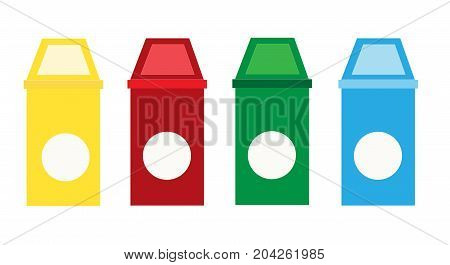 set recycle bins on white background. recycle garbage icon. waste type icon set vector.