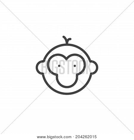 Year of monkey line icon, outline vector sign, linear style pictogram isolated on white. Astrology symbol, logo illustration. Editable stroke.
