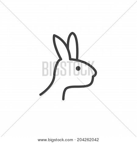 Year of rabbit line icon, outline vector sign, linear style pictogram isolated on white. Astrology symbol, logo illustration. Editable stroke.
