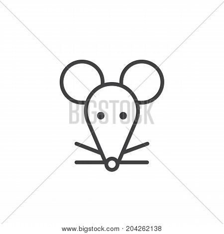Year of rat line icon, outline vector sign, linear style pictogram isolated on white. Astrology symbol, logo illustration. Editable stroke.
