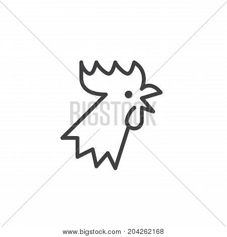 Year of rooster line icon, outline vector sign, linear style pictogram isolated on white. Astrology symbol, logo illustration. Editable stroke.