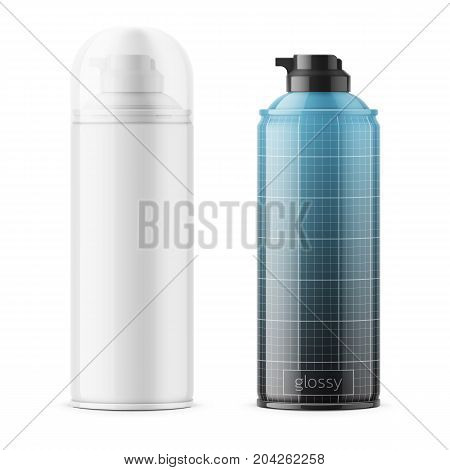 Glossy tin cans for shaving foam or gel with transparent cap. White and color. 400 ml. Realistic packaging mockup template with sample design. Front view. Vector illustration.
