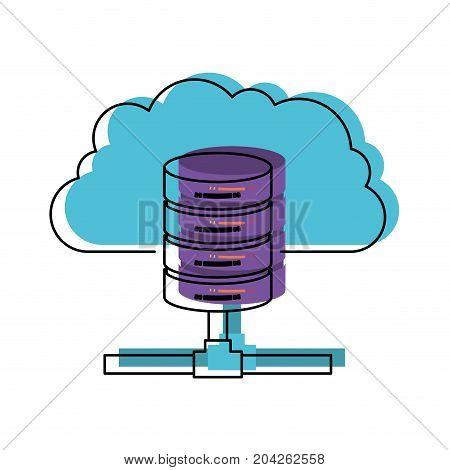 cloud and network server storage icon in watercolor vector illustration