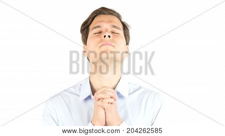 Hands Clasped Hoping Of Miracle Isolated On Background, Praying Isolated On White Background