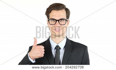Success And Winning Concept - Happy Business Man  Giving Thumbs Up