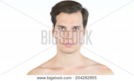 Portrait Of Handsome Man Shirtless Isolated On White Background
