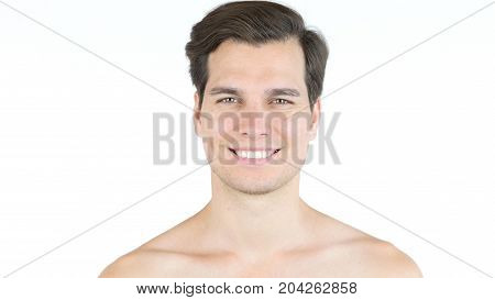 Portrait Of Handsome Man With Big Smile, Shirtless Isolated On White Background