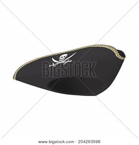 3D rendering of pirate hat, isolated on white background.