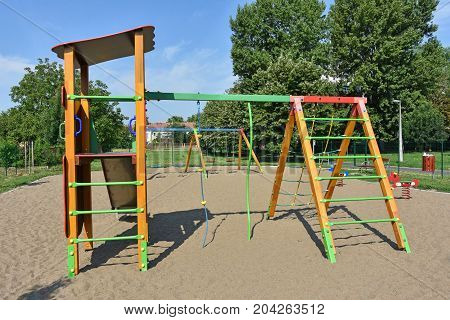 Jungle gym at the playground outdoors in summer