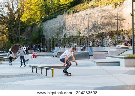 Man On The Skateboard In The Park Of Luxembourg In 2017