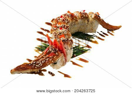 Sushi dragon with eel isolated on white background