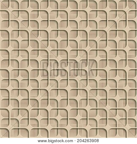 3d Beige Seamless Abstract Geometric Pattern. Beige Tile Surface Dark Red Dots Of Different Sizes On The Bottom Layer. Frame Border Wallpaper. Elegant Repeating Vector Ornament