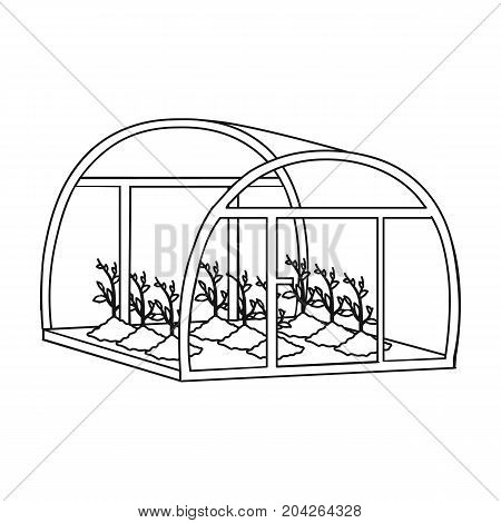 Greenhouse, single icon in outline style .Greenhouse, vector symbol stock illustration .