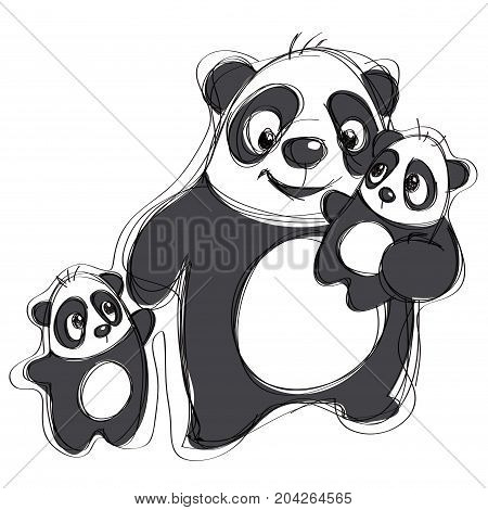 Cartoon vector pandas illustration in a naif simple childish drawing style isolated in white background