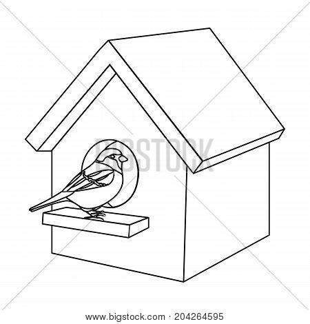 Birdhouse, single icon in outline style.Birdhouse, vector symbol stock illustration .