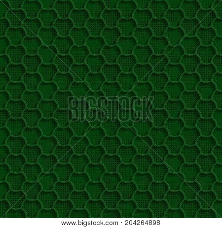 3d Seamless Web Hexagon Pattern. Green Tile Surface Black Dots Of Different Sizes On The Bottom Layer. Frame Border Wallpaper. Elegant Repeating Vector Ornament