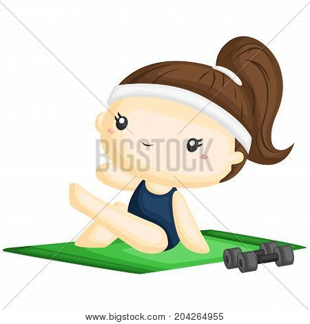 a girl doing yoga in the carpet