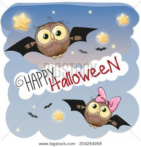 Two Cute Halloween Owls with bat wings
