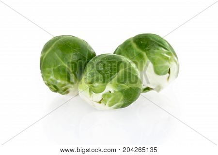 Fresh brussels sprouts, isolated on white background