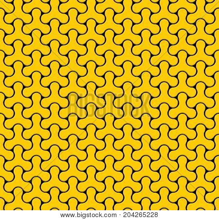 Seamless Web Geometric Pattern. Black And Yellow Background Of Forms Of A Spinner. Frame Border Wallpaper. Elegant Repeating Vector Ornament