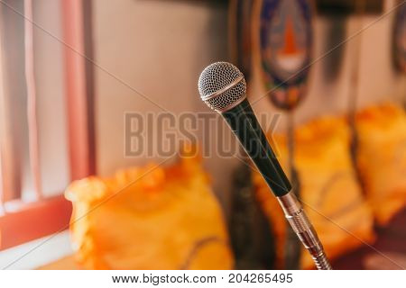 Microphone In Thai Temple For Buddhist Monk Pray And Sermon In Thai Church