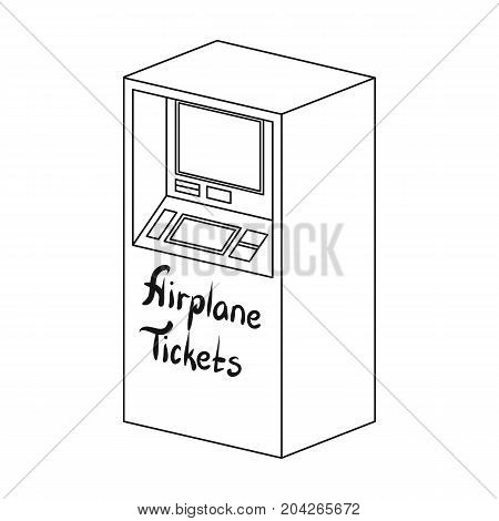Terminal for aviation tickets. Terminals single icon in outline style isometric vector symbol stock illustration .