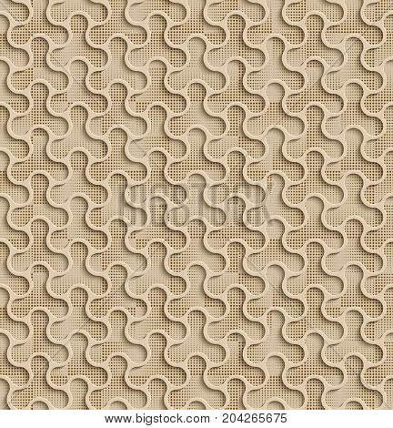 3d Seamless Web Geometric Pattern. Beige Background Of Forms Of A Spinner With Brown Dots In The Background. Frame Border Wallpaper. Elegant Repeating Vector Ornament