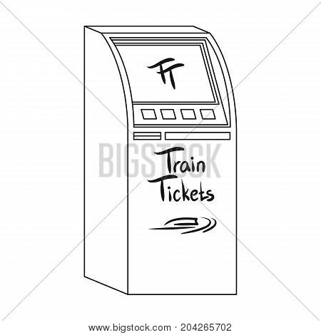 Terminal for train tickets. Terminals single icon in outline style isometric vector symbol stock illustration .