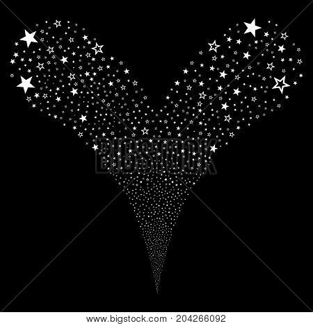 Decoration Stars fireworks stream. Vector illustration style is flat white iconic decoration stars symbols on a black background. Object fountain combined from random pictographs.