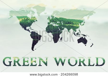 Illustration of  double exposure of green mountains forest and world map. Nature concept background