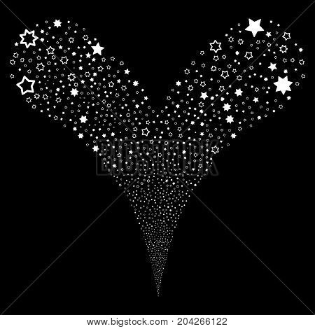 Decoration Stars explosive stream. Vector illustration style is flat white iconic decoration stars symbols on a black background. Object fountain combined from random pictograms.