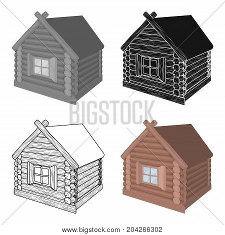 Wooden log cabin. Hut architectural structure single icon in cartoon style vector symbol stock illustration .