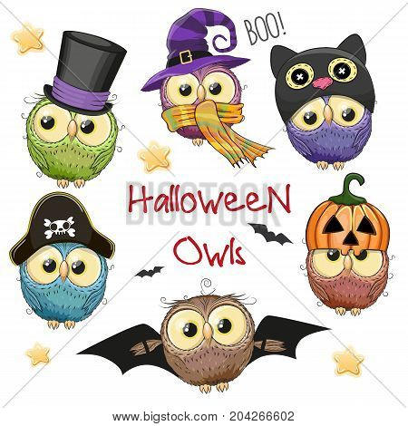 Six Cute Halloween Owls isolated on a white background