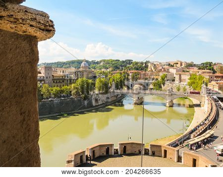 ROME, ITALY - AUGUST 31, 2013: Aerial view of Rome. Bridges through the Tiber River. Rome, Italy
