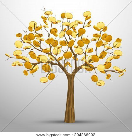A tree from which gold coins grow. Vector illustration