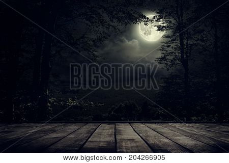 Night mountains landscape with moon light. Beauty nature background
