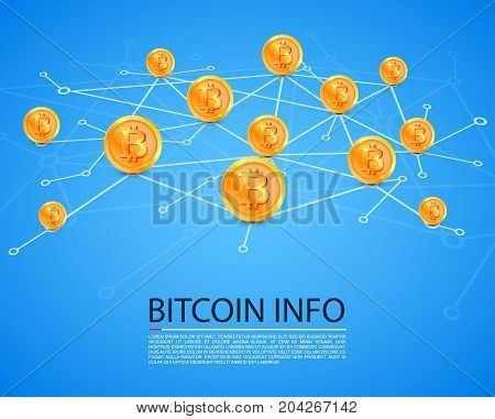 Bitcoin map network on the white background. Vector illustration
