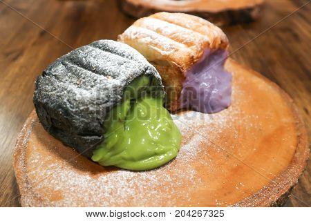 bun or bread with green tea stuffed and bread with purple sweet potato stuffed