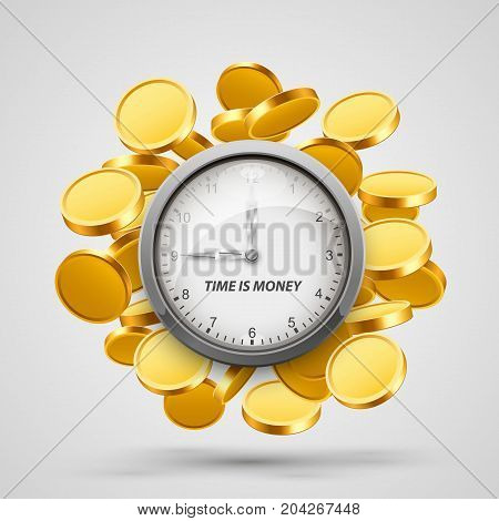Time money, clock with coins objects. Vector illustration