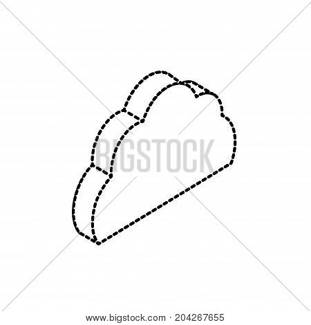 dotted shape cloud data service to security connect vector illustration