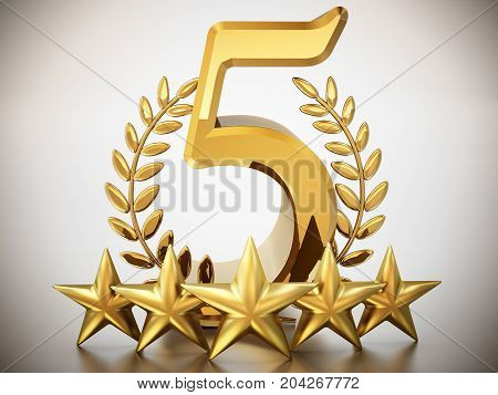 Number 5 stars and laurels isolated on white background. 3D illustration.