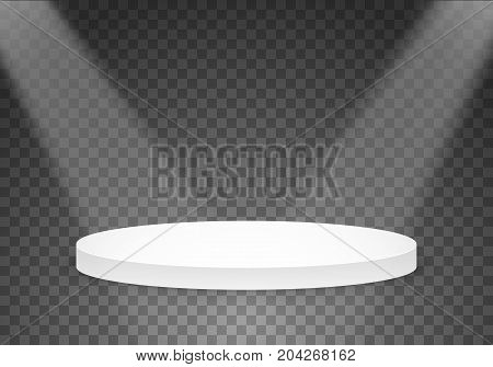 Illustration of Vector Victory Platform Template. 3D Realistic Vector Winner Stage Podium with Bright Light