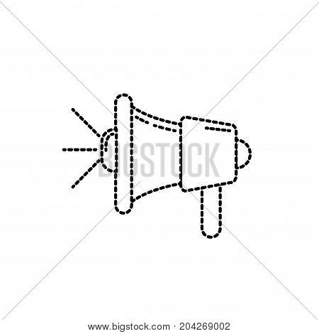 dotted, shape, megaphone tool to speaker communication message vector illustration