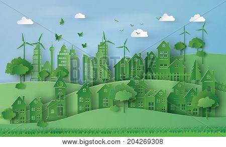 concept of eco with Urban Countryside Landscape City Village paper art and craft style.