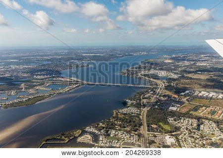 Tropper Jd Young Bridge. Aerial view of city and gulf Bradenton Florida. Approach to land at the airport in St. Petersburg. Florida