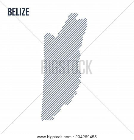 Vector Abstract Hatched Map Of Belize With Oblique Lines Isolated On A White Background.